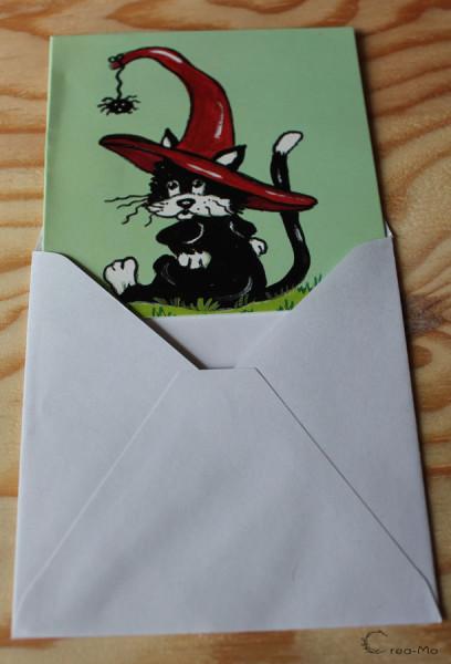 Carte chat avec un chapeau de sorcière